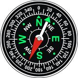 Magnetic compass. Vector isolated illustration on white background Stock Photography
