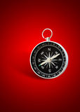 Magnetic compass. In red background with shadow Royalty Free Stock Photo