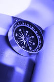 Magnetic compass in blue tone Royalty Free Stock Image