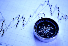 Magnetic compass on a graph Royalty Free Stock Photos