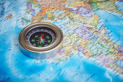 The magnetic compass on a topographic map Stock Image