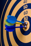 Magnetic dart board with darts Royalty Free Stock Photo