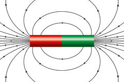 Magnetic field of a bar magnet Stock Images