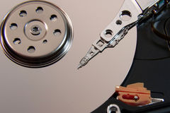 Magnetic head of hard disk closeup. Magnetic head of the information storage device closeup royalty free stock photography