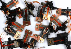 Magnetic heads from old floppy drives.  Royalty Free Stock Images