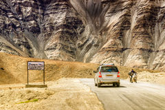 Magnetic Hill , a natural wonder at Leh, Ladakh, Jammu and Kashmir, India. A gravity hill where slow speed cars are drawn against gravity is famously known as Royalty Free Stock Image