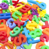 Magnetic letters and numbers Royalty Free Stock Photography