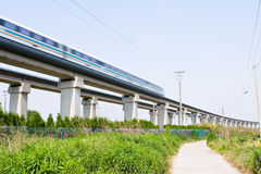 Magnetic levitation train. Travels at 431 km or 270 miles per hour through the green field of suburban shanghai, china, train in motion blur stock photography