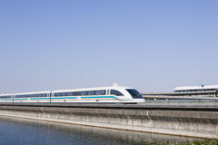 Magnetic levitation train. Magnetic levitation (maglev) train travels at 431 km or 270 miles per hour, shanghai, china Royalty Free Stock Image