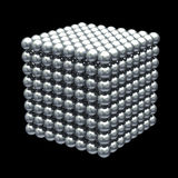 Magnetic metal balls cube. On black background with clipping path Stock Photos