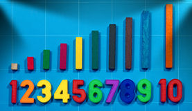 Magnetic Numbers and Wooden Colorful Pieces Stock Image