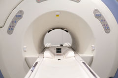 Magnetic resonance. Close up picture of a magnetic resonance imaging machine Stock Photo