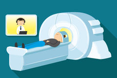 Magnetic resonance imaging. Doctor diagnoses a patient using magnetic resonance imaging Royalty Free Stock Image