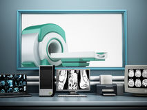 Magnetic Resonance Imaging MRI device and computer systems.  Stock Image