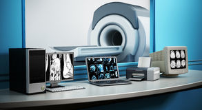 Magnetic Resonance Imaging MRI device and computer systems.  Royalty Free Stock Photos