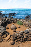 Magnetic round stone in Te Pito Kura, Easter island, Chile Royalty Free Stock Photos