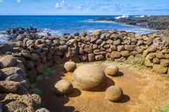 Magnetic stones, ahu Te Pito Kura, easter island Stock Images
