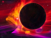 Magnetic Storm - Digital Painting. Illustration of a dark planet engulfed by a magnetic storm or solar wind Stock Photography