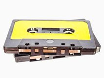 Magnetic tape cassette. For analog audio music recording, grunge authentic vintage feel royalty free stock images