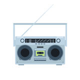 Magnetic tape cassette player. Vintage radio. Front view. Flat illustration. Royalty Free Stock Images