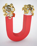 Magnetic toll and gold dollar signs. 3d high quality rendering Royalty Free Stock Photo