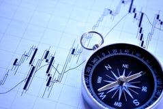 Magnetisch kompas op een grafiek Stock Afbeelding