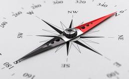 Magnetisk kompass med visaren som pekar nordpolen, riktning eller vektor illustrationer
