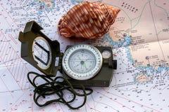 Magnetisk kompass på översikten Royaltyfri Foto