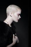 Magnetism & lockelse Profil av den Snazzy stilfulla kvinnablondinen Royaltyfria Bilder