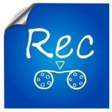 Magnetofonowy symbol malował na błękitnym tle Zdjęcia Stock