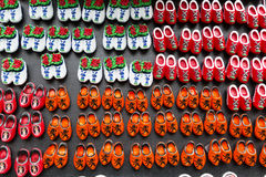 Magnets with dutch traditional wooden shoes or clogs for sale, souvenir shop, Holland Royalty Free Stock Photography
