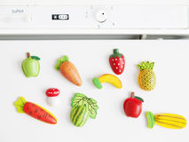 Magnets fridge. Composition of magnets fridge of fruits and vegetables Stock Photography