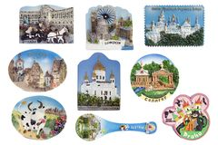 Magnets with the images of cities set Royalty Free Stock Image