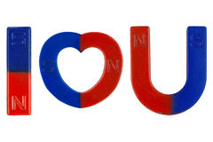 Magnets in red blue with word I Love You  letter alphabet I hea Stock Photo
