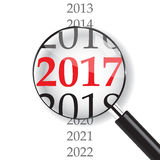 2017 with Magnifer on white background. Year 2017 with Magnifer on white background Vector Illustration