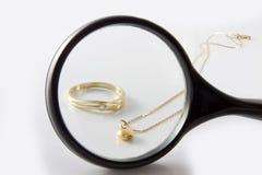 Magnifer y oro foto de archivo libre de regalías