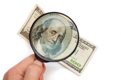 Magnification banknote of 100 dollars Royalty Free Stock Photo