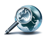 Magnification on Europe. Glass globe with loupe royalty free illustration