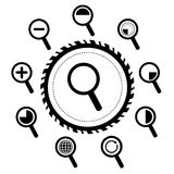 Magnification icon for searching web Royalty Free Stock Images