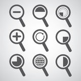 Magnification icon set Royalty Free Stock Image