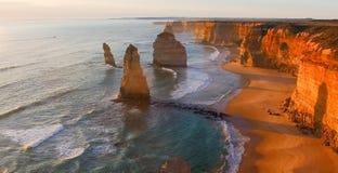 Magnificence 12 апостолов, Австралия Вид с воздуха на сумраке Стоковая Фотография RF