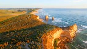 Magnificence 12 апостолов, Австралия Вид с воздуха на сумраке Стоковые Изображения RF