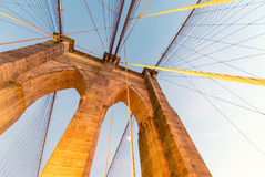 Magnificence of Brooklyn Bridge at dusk Royalty Free Stock Images
