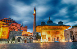 Magnificence of Hagia Sophia Museum at night, Istanbul, Turkey Stock Photography