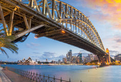Magnificence of Harbour Bridge at dusk, Sydney Royalty Free Stock Photos