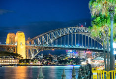 Magnificence of Harbour Bridge at dusk, Sydney Stock Photo
