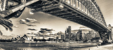 Magnificence of Harbour Bridge at dusk, Sydney.  Royalty Free Stock Image