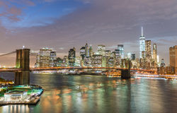 Magnificence of New York Skyline at twilight from Manhattan Brid Stock Image