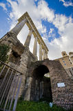 The Magnificence of the Roman Forum. The columns of the Foro Romano against spring sky Royalty Free Stock Images