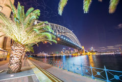 Magnificence of Sydney Harbour Bridge at dusk Stock Photos
